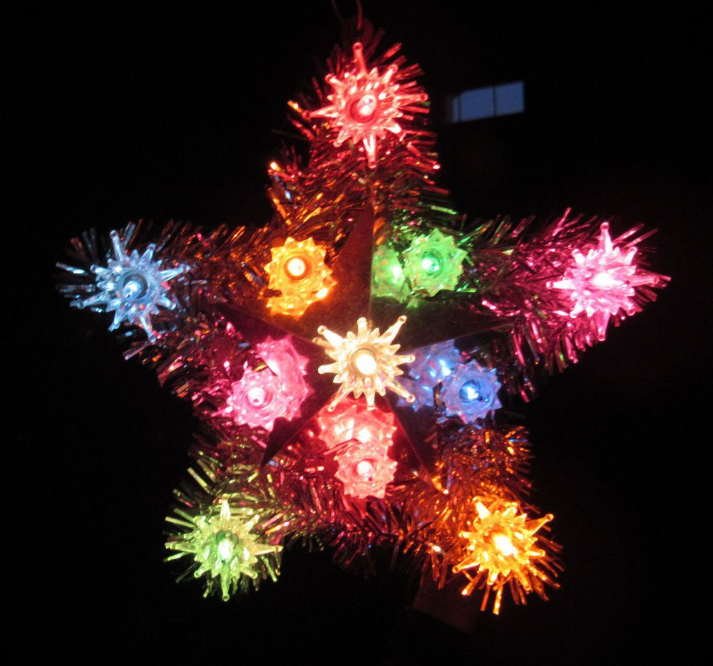 vintage old america stores light up star christmas tree topper multi color flash