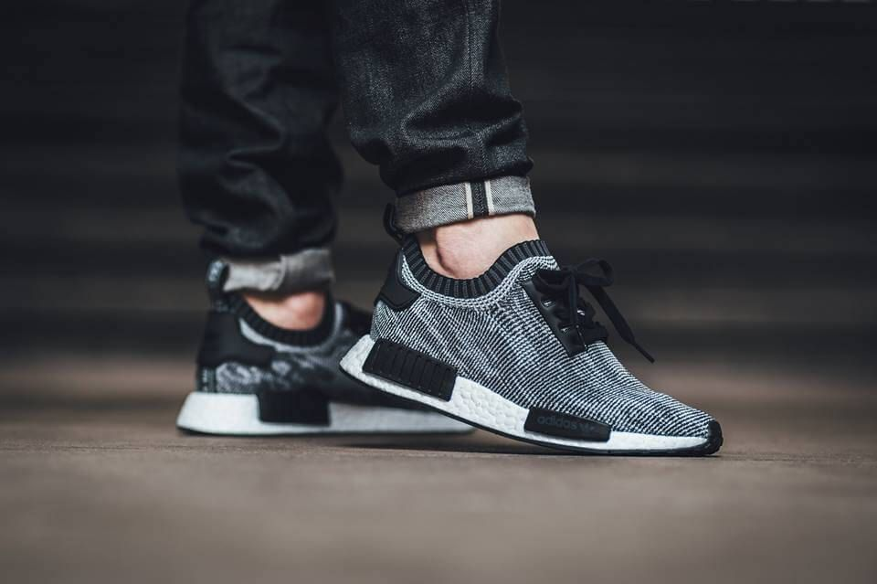 49dcc08d5 adidas NMD R1 Primeknit Black White On Foot Look | Menswear Cops and ...