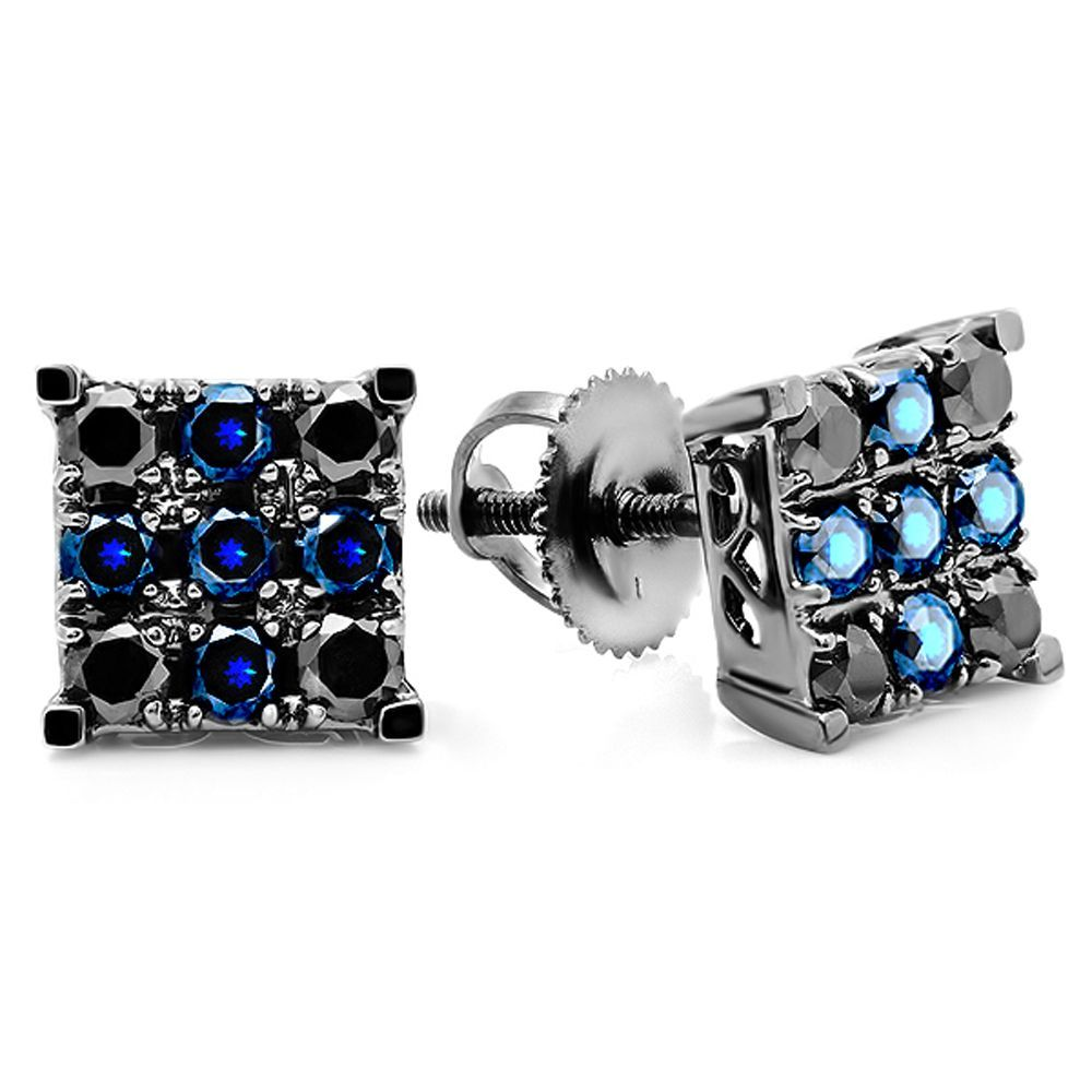 men stainless vintage in sapphire steel royal stud blue rose earrings crystal women mens pin side reversible