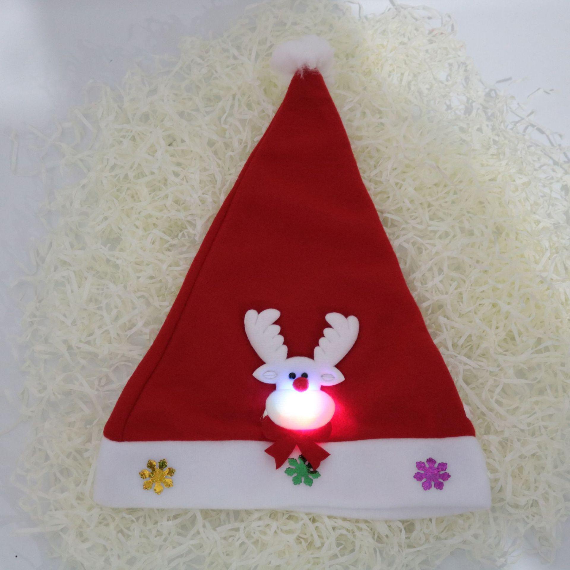 Pere Noel Led Rouge Chapeaux Noël Bonde Père Noël à LED Santa Chapeaux pour