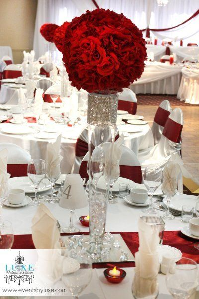 Burgundy and white centerpiece wedding decorations by luxe for Burgundy wedding reception decorations