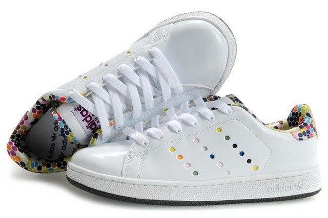best website ecb22 71d98 Haute Qualité  BWB89  Femme Adidas Stan Smith Chaussures Blanc Coloré Pas  Cher