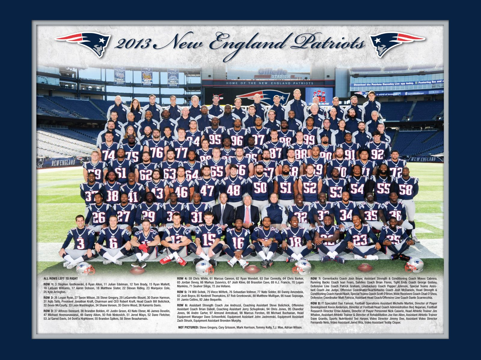 2013 New England Patriots Team Photo New England Patriots Players New England Patriots Merchandise New England Patriots