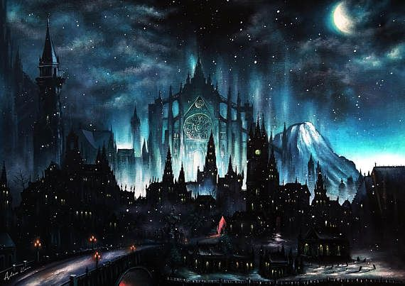 Souls Borne, Art Print, Game painting, Gothic, Moonlight, Wall Art, Home decor, Fine Art print A3