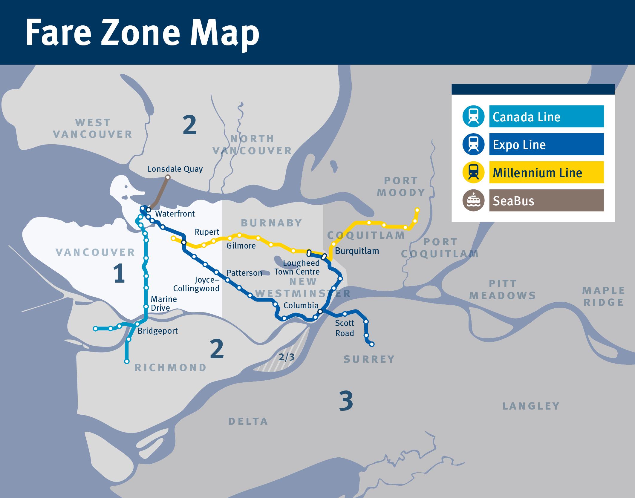 Canada Line Fare Zone Map Pin on Travel