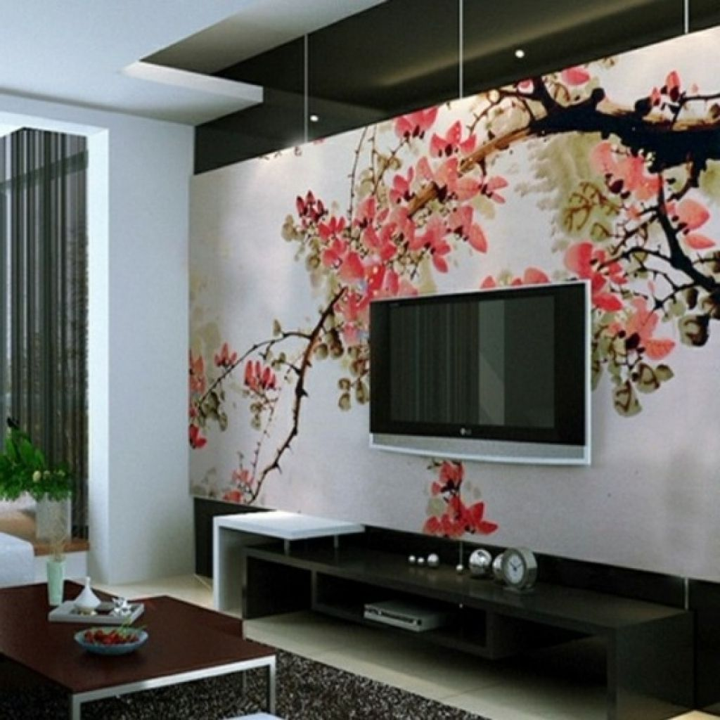 deko tapete wohnzimmer japanischer stil modernes. Black Bedroom Furniture Sets. Home Design Ideas