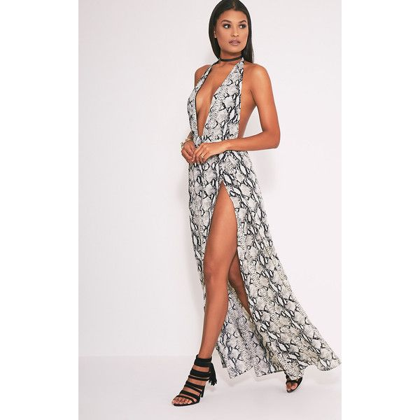 Alina Nude Snake Print Plunge Maxi Dress ($30) ❤ liked on Polyvore featuring dresses, pink, summer maxi dresses, pink dress, chiffon dresses, white dress and sexy pink dress