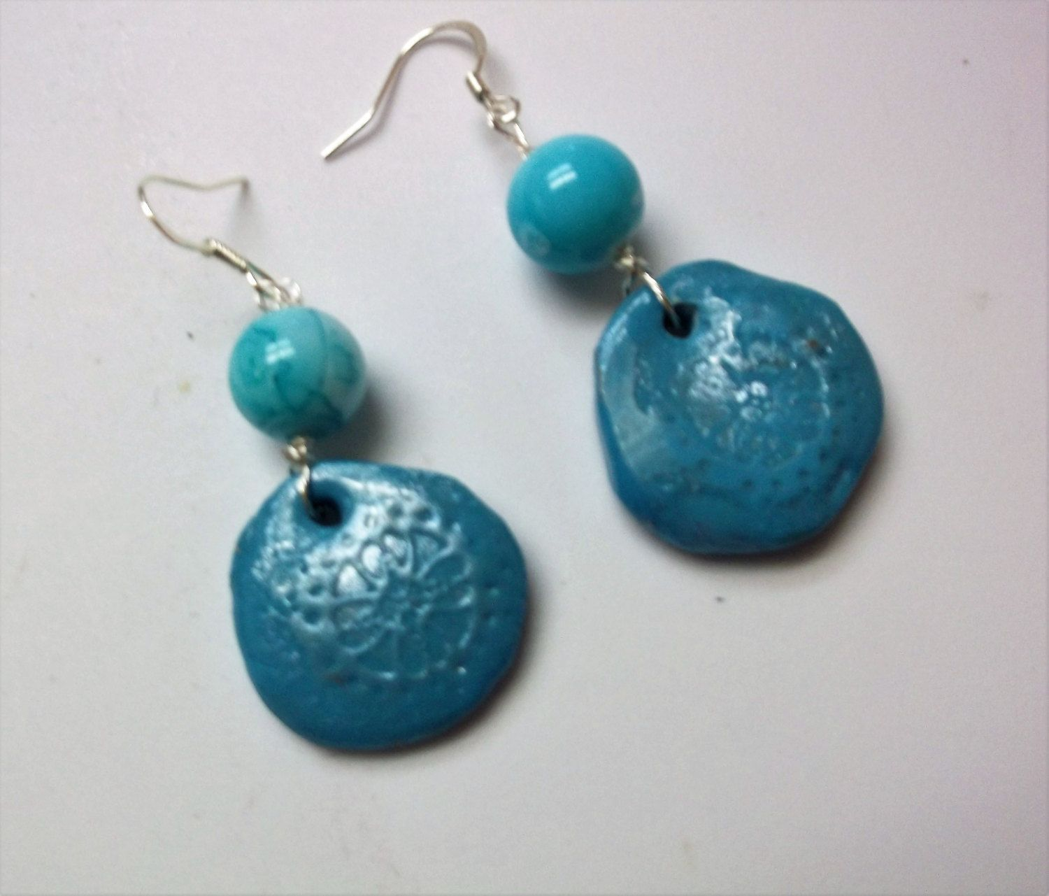 Turquoise disk earrings with blue glass top beads, silver wires ...