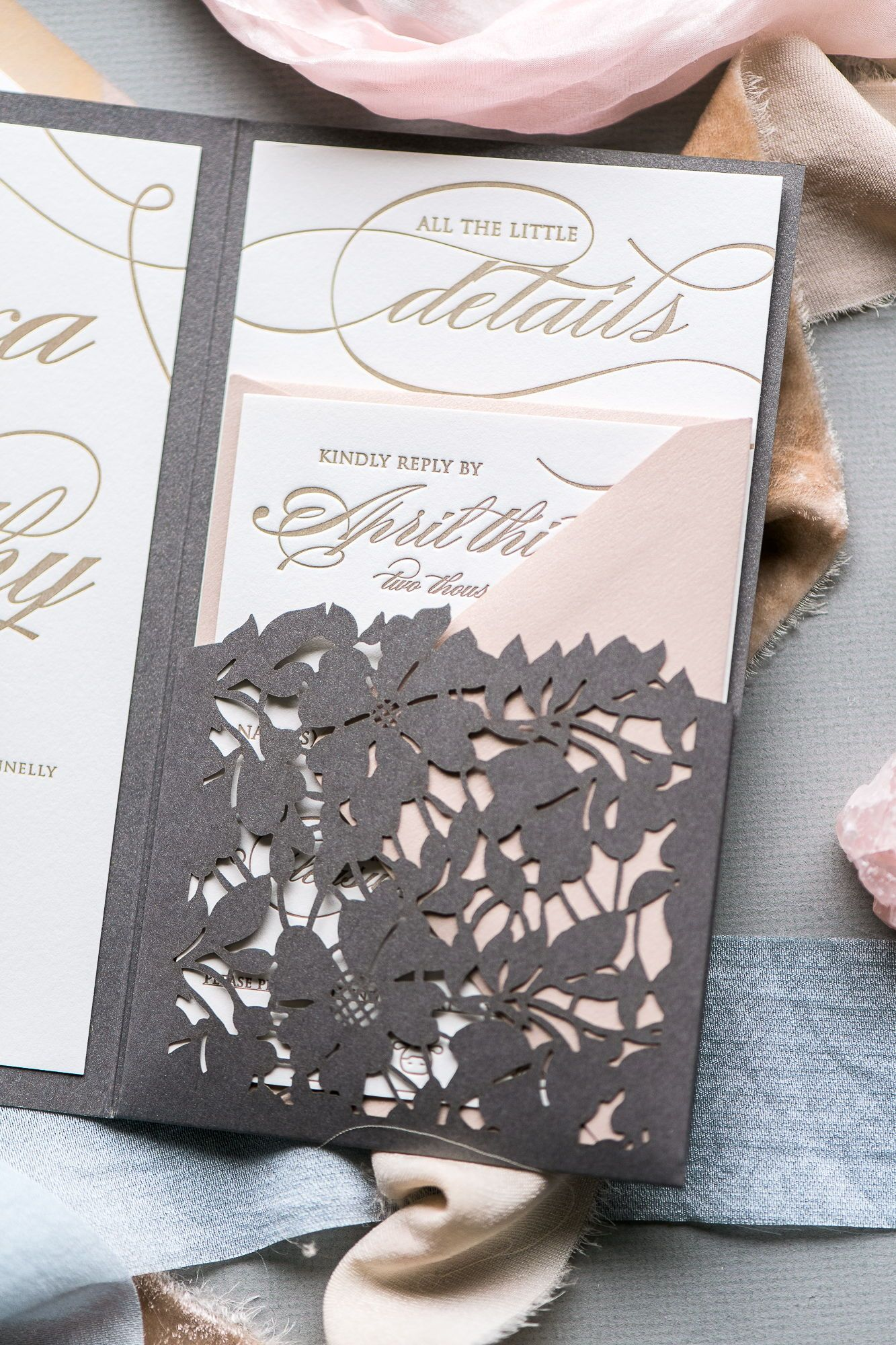 Lauren wedding invitation suite laser cut wedding invitations