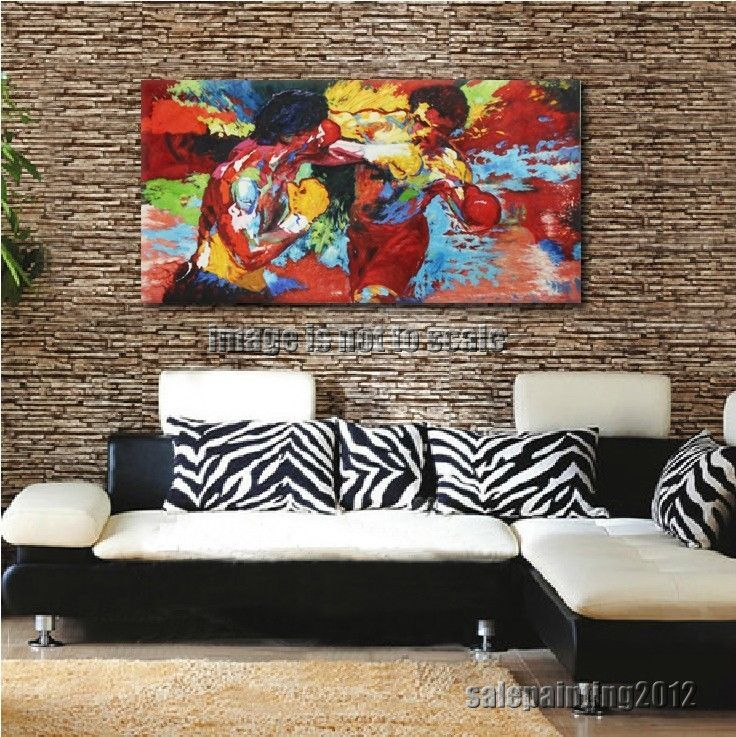 Abstract Boxing Oil Painting Repros by Leroy Neiman (Rocky vs Apollo) Home Decor #Abstract