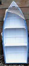 73cm WOODEN BLUE & WHITE ROWING BOAT SHELVES Nautical Seaside Shelf Unit