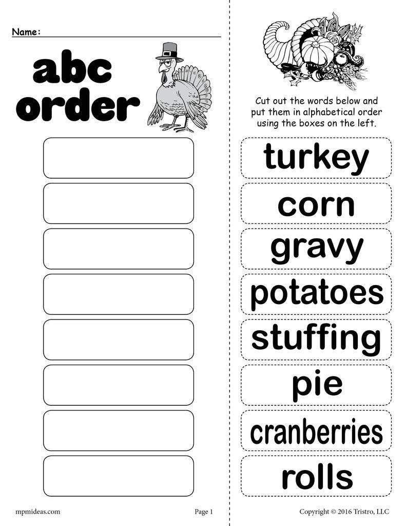1st Grade Alphabetical Order Worksheets Thanksgiving Themed Alphabetical Order Worksheet Abc Order Worksheet Alphabetical Order Worksheets Abc Order