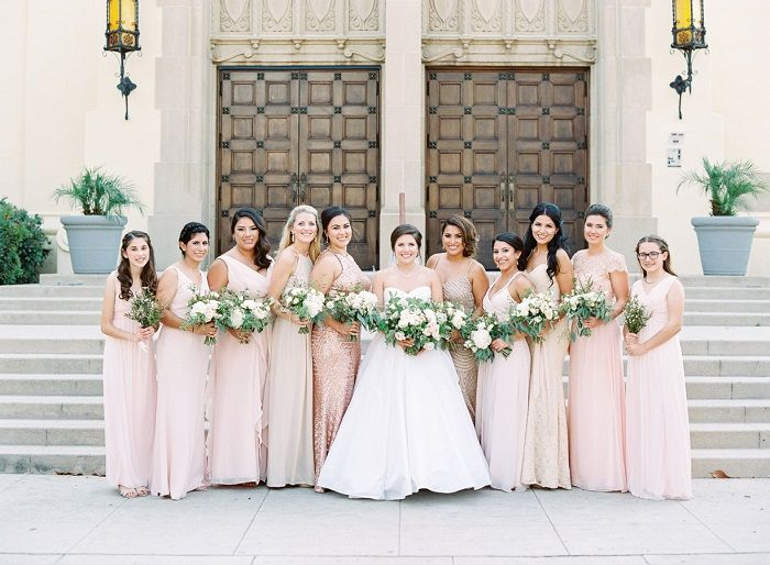 Blush bridesmaid dresses + Gold bridesmaid dresses + blush wedding bouquets | fabmood.com #weddinginspiration #blush #blushbridesmaiddresses