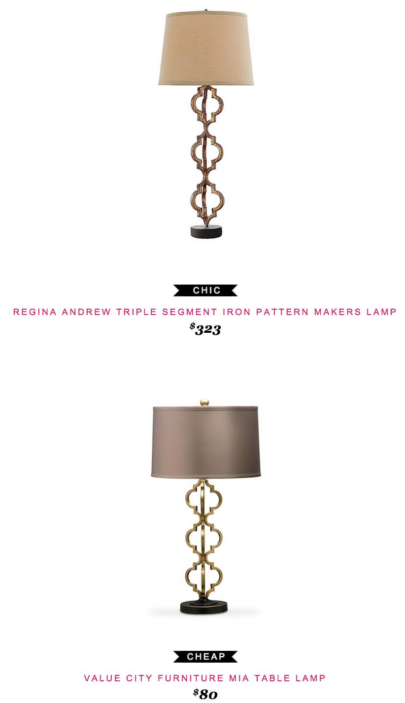 Regina Andrew Triple Segment Iron Pattern Makers Lamp $323 Vs Value City  Furniture Mia Table Lamp