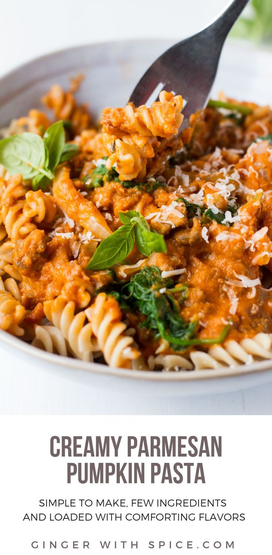 Creamy Parmesan Pumpkin Pasta #dinnerrecipesforfamilymaindishes