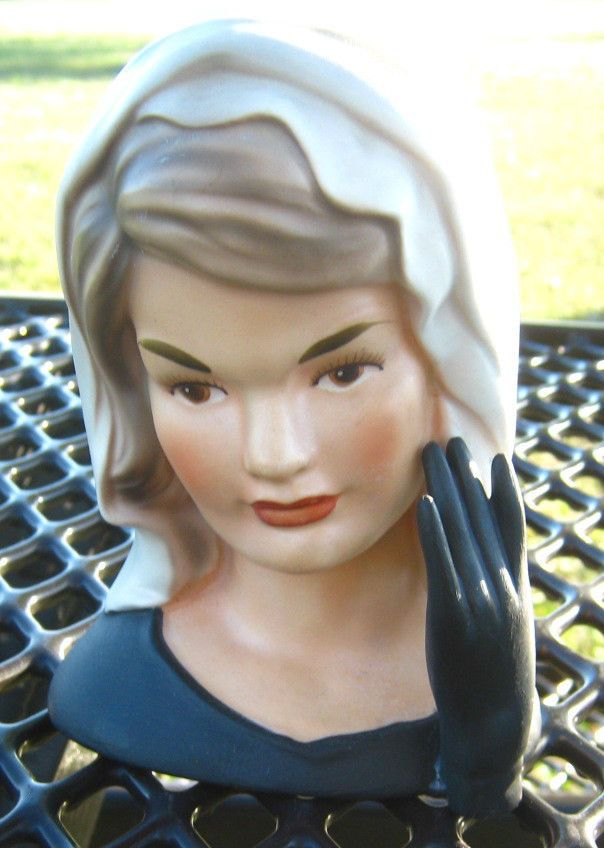 Jackie Kennedy Black Grey Head Vase Headvase Planter My Wish