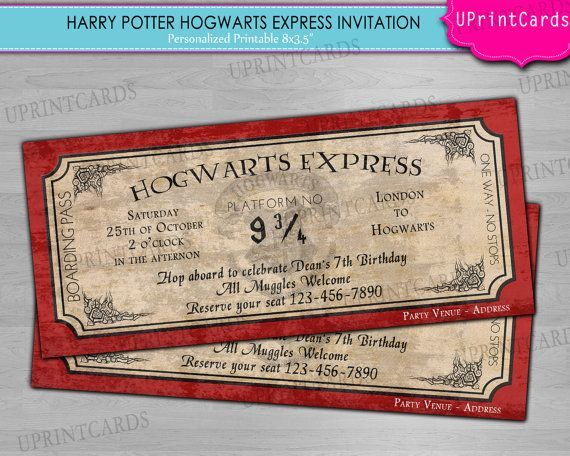 harry potter invitations DIY PRINTABLE - Hogwarts Express - printable ticket paper