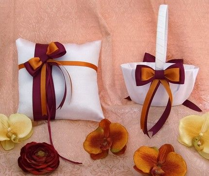 Burgundy And Burnt Orange Wedding Flower Basket Ring Pillow Set
