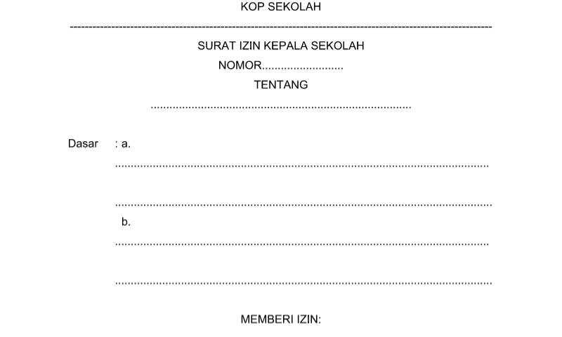 Surat Izin Kepala Sekolah Perangkat Administrasi Tata Usaha Sekolah