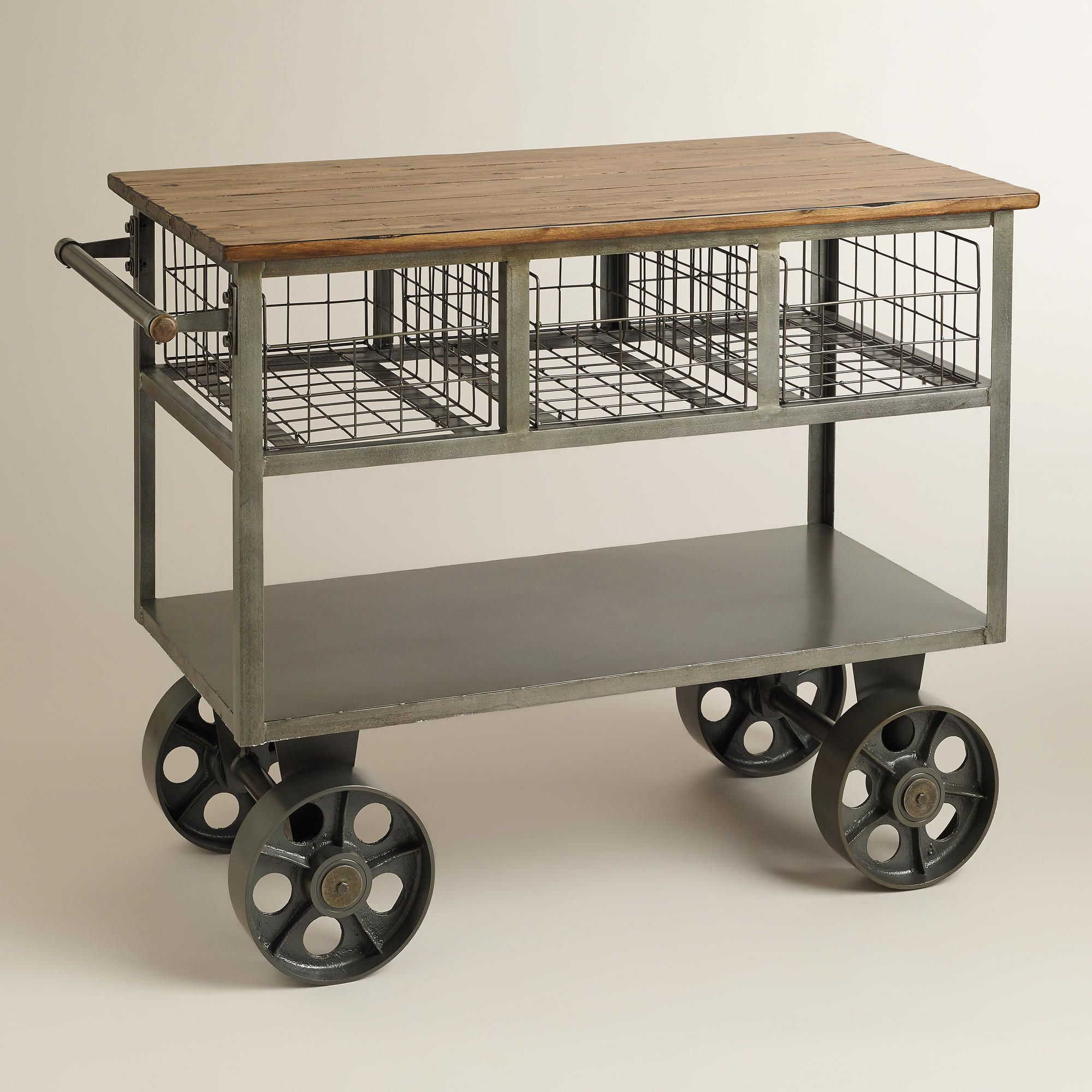 Antique Gray Polished Iron Kitchen Car With Black Iron Wheels Kitchen Ideas Pinterest