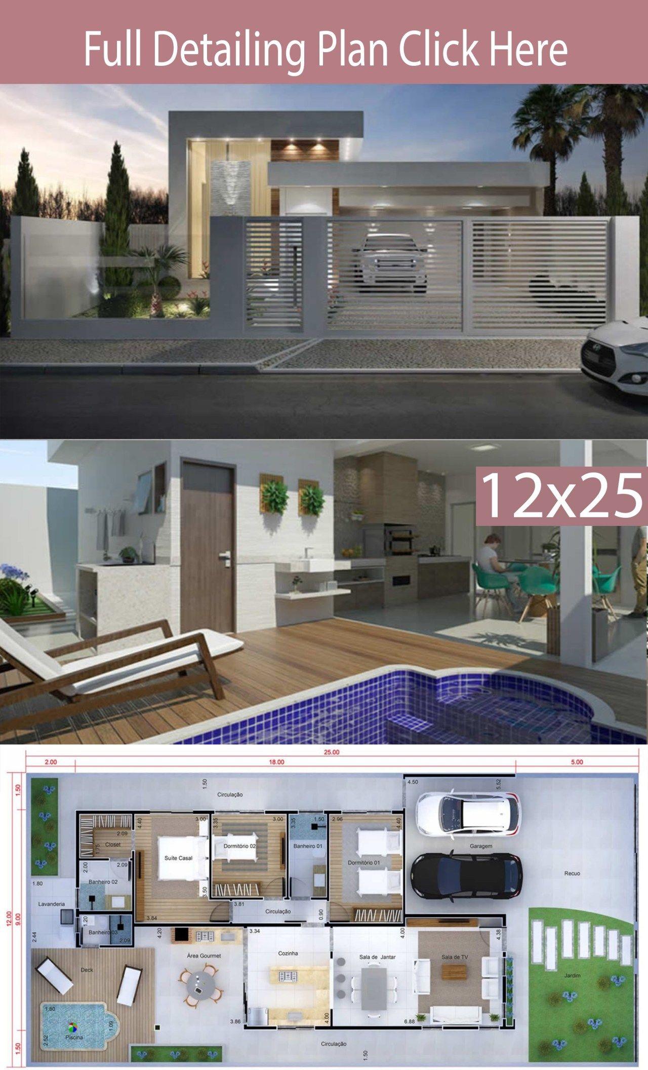 Home Design 12x25 Meters 3 Bedrooms Bungalow House Design Modern House Plans House Design