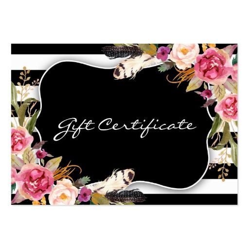 Floral Boho Chic Salon Gift Certificate Template hair salon - gift card certificate template