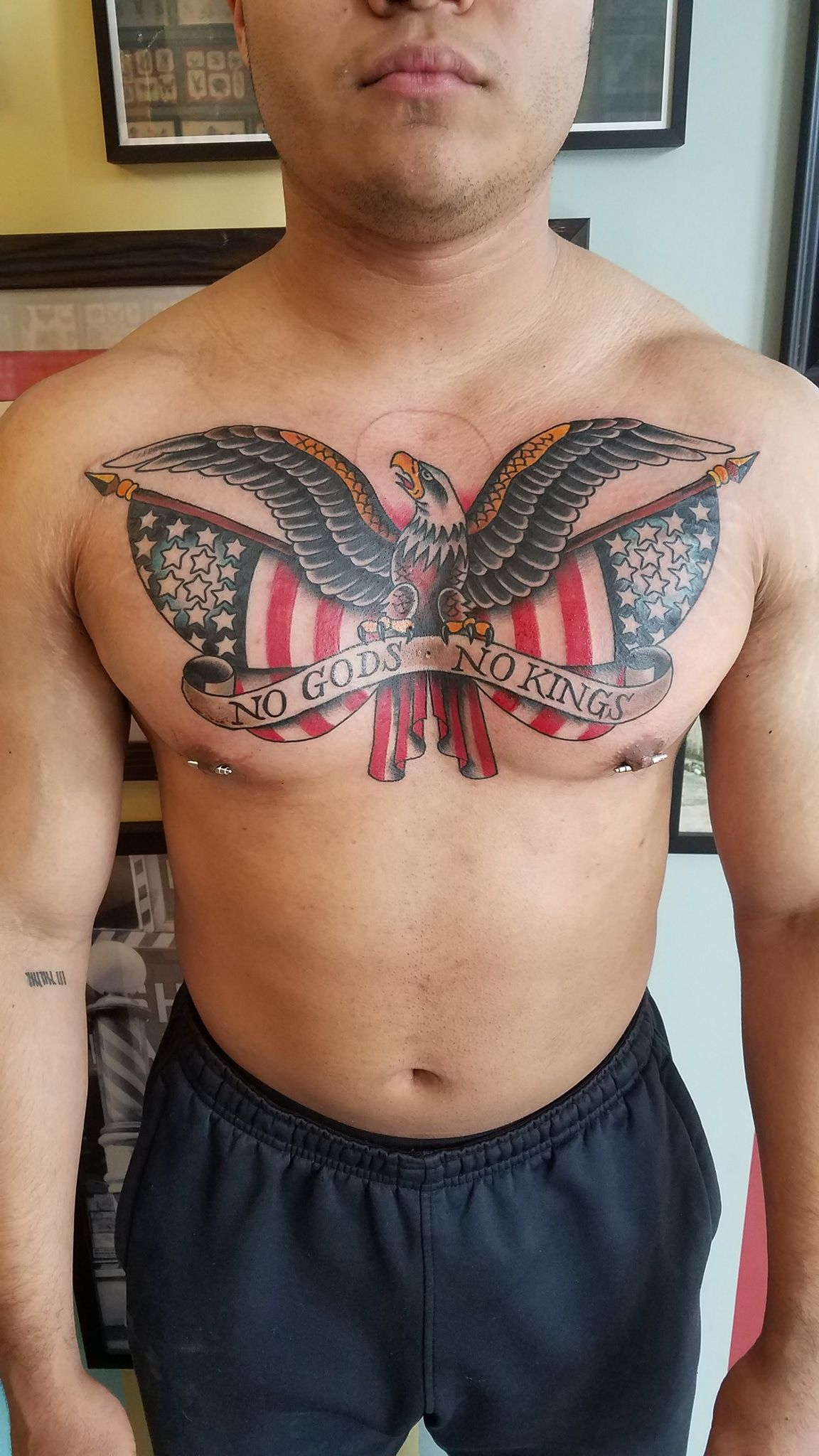 American Traditional Eagle With Flags By Nick Colella Of Great