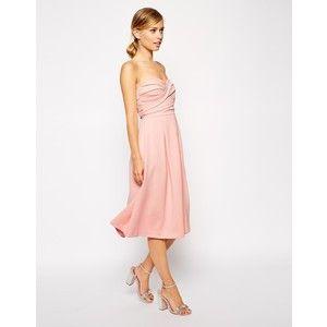ASOS Bandeau Midi With Twisted Bodice Dress