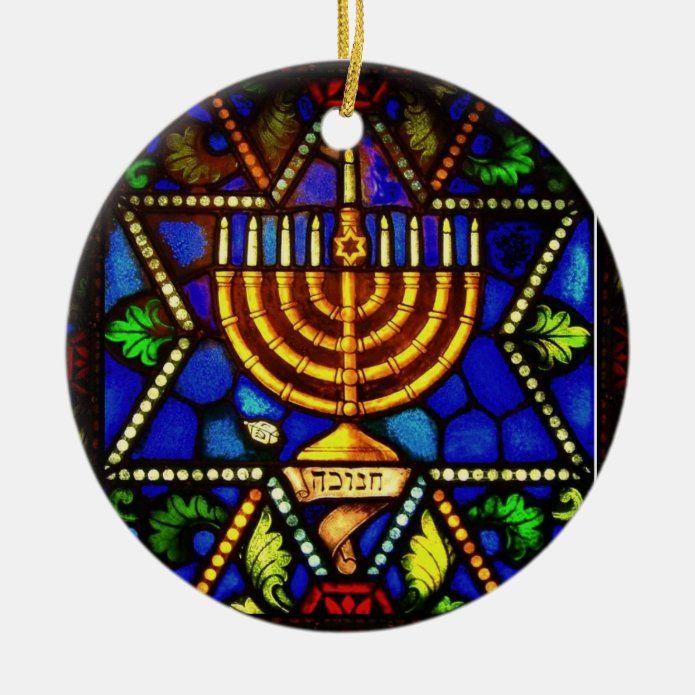 STAR OF DAVID AND MENORAH CERAMIC ORNAMENT - tap/click to personalize and buy #CERAMICORNAMENT #happy #hannukah #chanukah #hanukkah #menorah