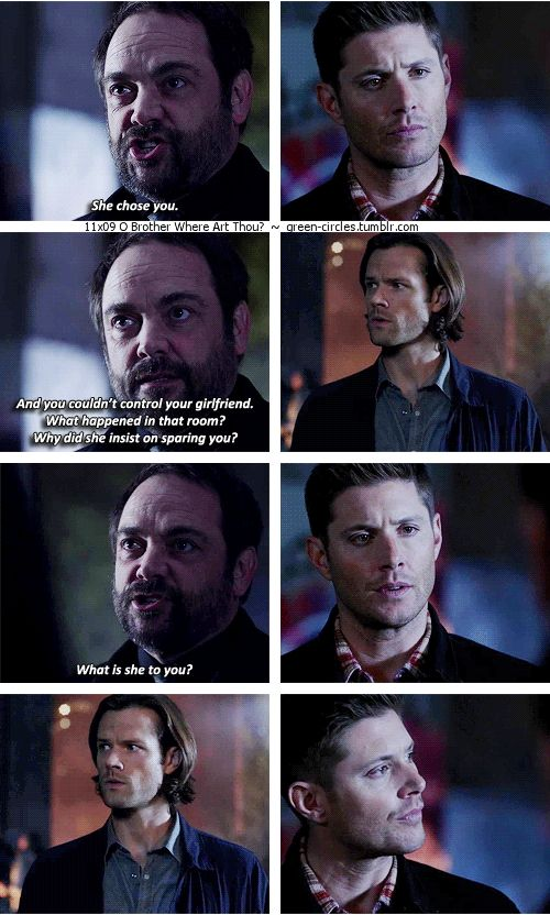 """11x09 O Brother Where Art Thou? [gifset] - """"What is she to you?"""" - Crowley, Sam & Dean Winchester; Supernatural - about time Sam learns about Amara and Dean!"""