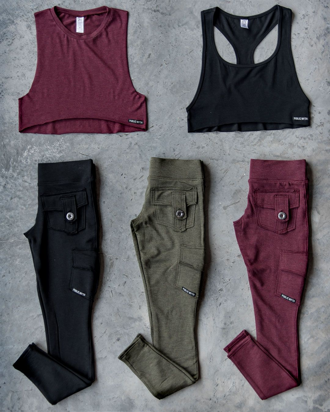 d21f1de21504a PUBLIC MYTH ACTIVE WEAR Featured Products: Bamboo Pocket Leggings Bamboo  Crop Racerbank Tank Bamboo Muscle Crop