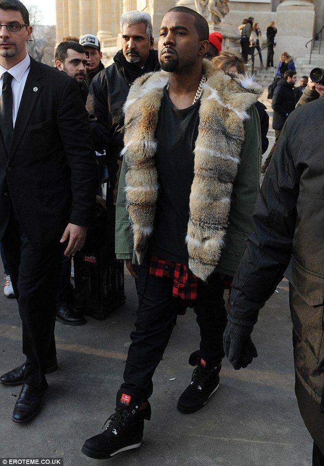 Well He Is The Louis Vuitton Don Stylish Kanye West Makes A Standout Appearance At Men S Fashion Week In Fur Lined Jacket Fur Coat Fashion Kanye West Mens Fashion Week