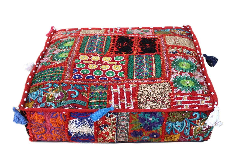 Bohemian Floor Cushions Decorative Cushion Cover Large Floor Pillow Indian Cushion Hippie 22 Sari Patchwork Cushion Meditation Cushion In 2020 Decorative Cushion Covers Indian Cushions Patchwork Cushion