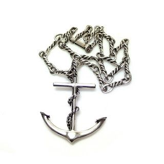 Large silver anchor pendant and silver chain. avaliable from The Antique Jewellery Company at Grays