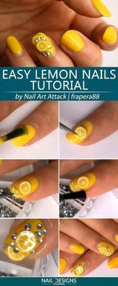 Super Easy Lemon Nails Tutorial #yellownails #fruitsnails #citrusnails Tr