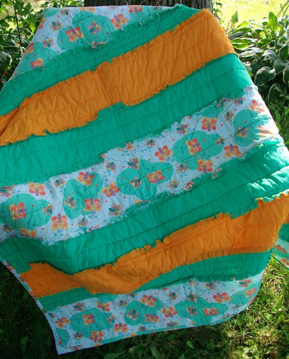 Bright Happy Butterflies Crib Or Toddler Bed Rag Quilt Green