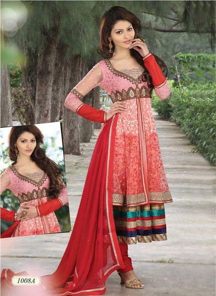 Alluring Pink Resham Anarkali Churidar (D. No. 1008-A) | Saris and Things