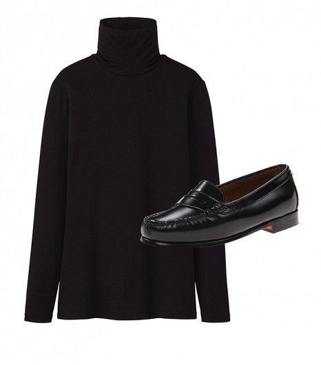 @Who What Wear - Get The Look:  Uniqlo Heattech Turtle Neck Long Sleeve T-Shirt ($15) Bass Wayfarer Penny Loafers ($67)