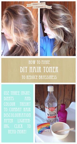 Food Coloring Toner Before And After Diy Hair Toner Hair Toner Brassy Hair