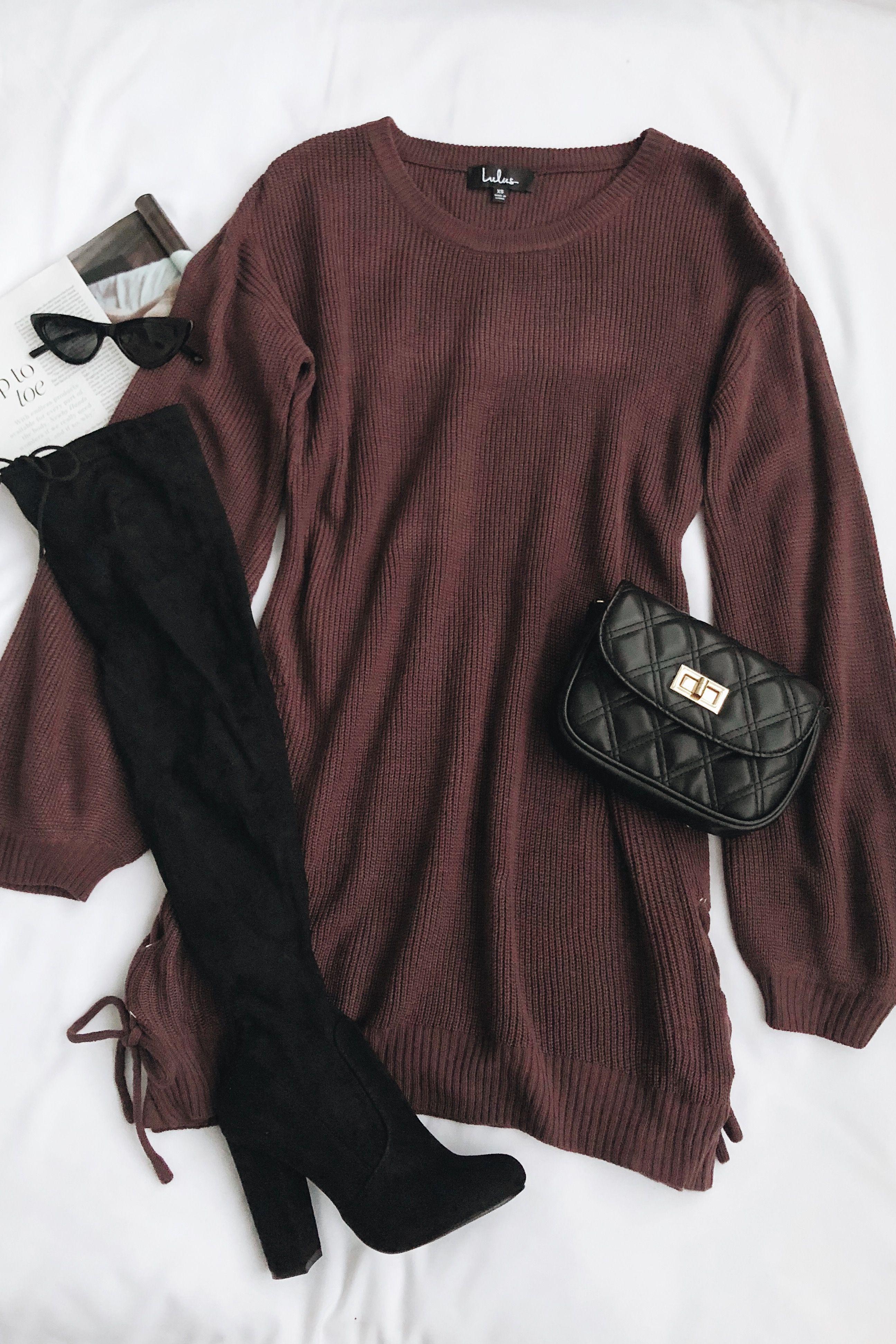 Lalianna Dusty Purple Balloon Sleeve Lace-Up Sweater Dress        Lalianna Dusty Purple Balloon Sleeve Lace-Up Sweater Dress #Balloon #Dress #Dusty #Laceup #Lalianna #purple #Sleeve #sweater