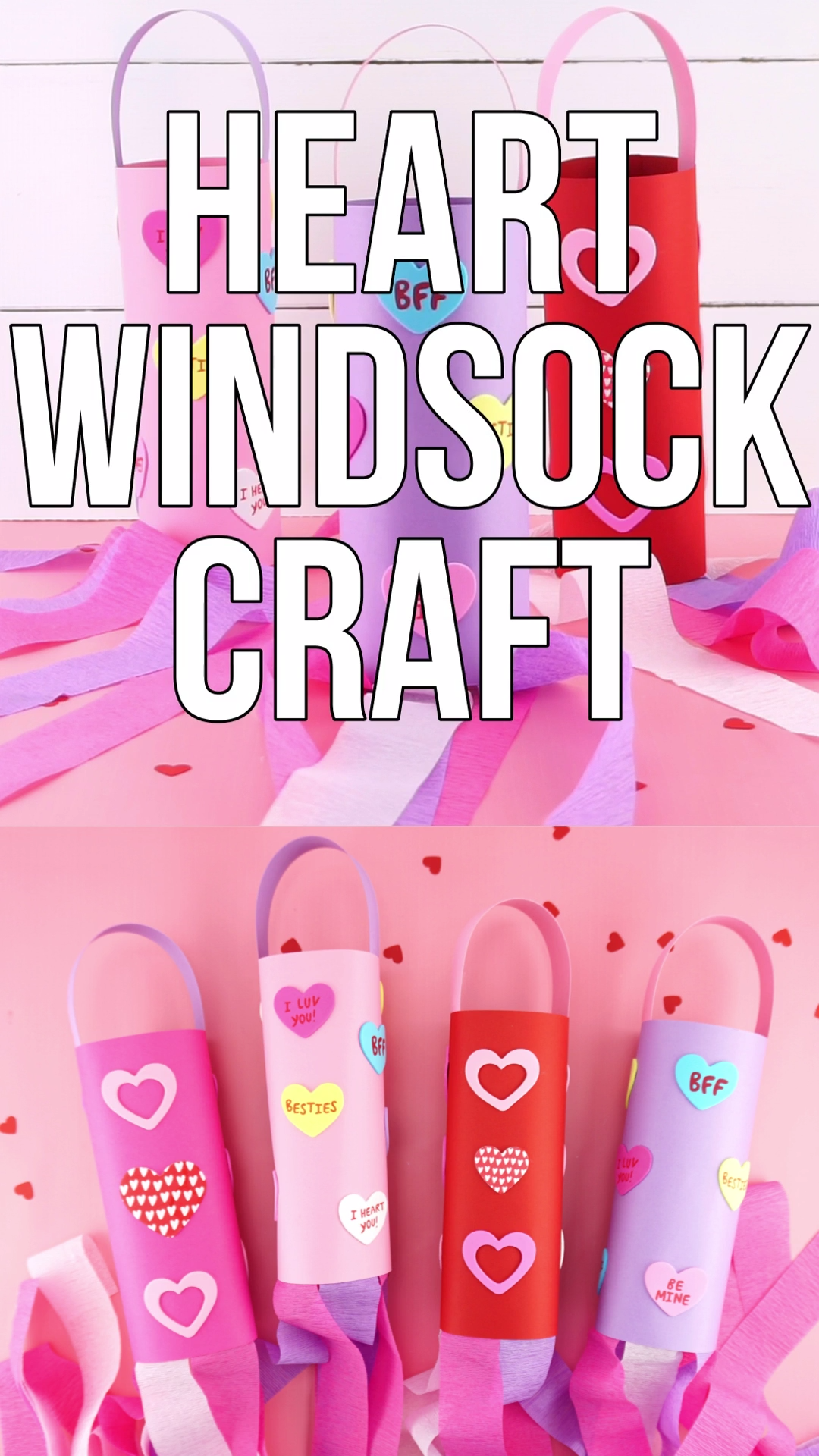 Heart Windsocks Valentine's Day Craft for Kids