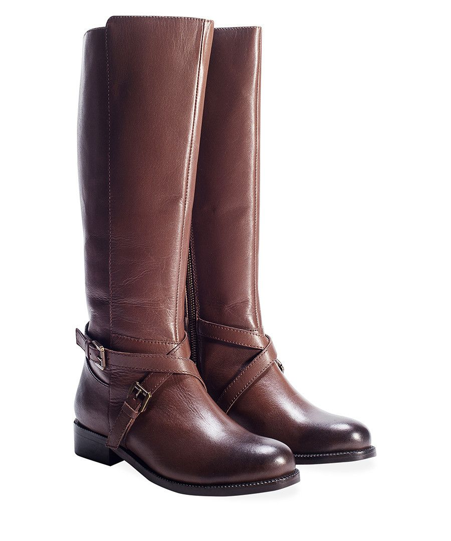 6a0db9775e9 Brown leather crossover strap boots Sale - Redfoot | Boots | Boots ...