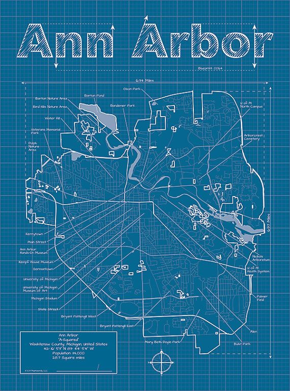 Ann arbor map original artwork ann arbor blueprint wall art ann arbor artistic blueprint map malvernweather Image collections