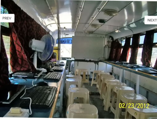 Inside Selco S Magical School Bus The Bus Provides Computers And Internet Service To Those Who Lack Access Stackable Stools School Bus Space Saving