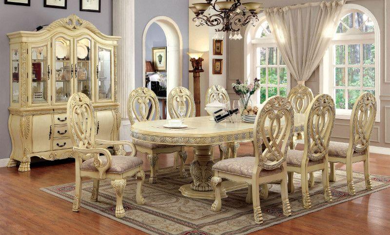 CM3186WH 7 pc wyndmere antique white finish wood elegant formal