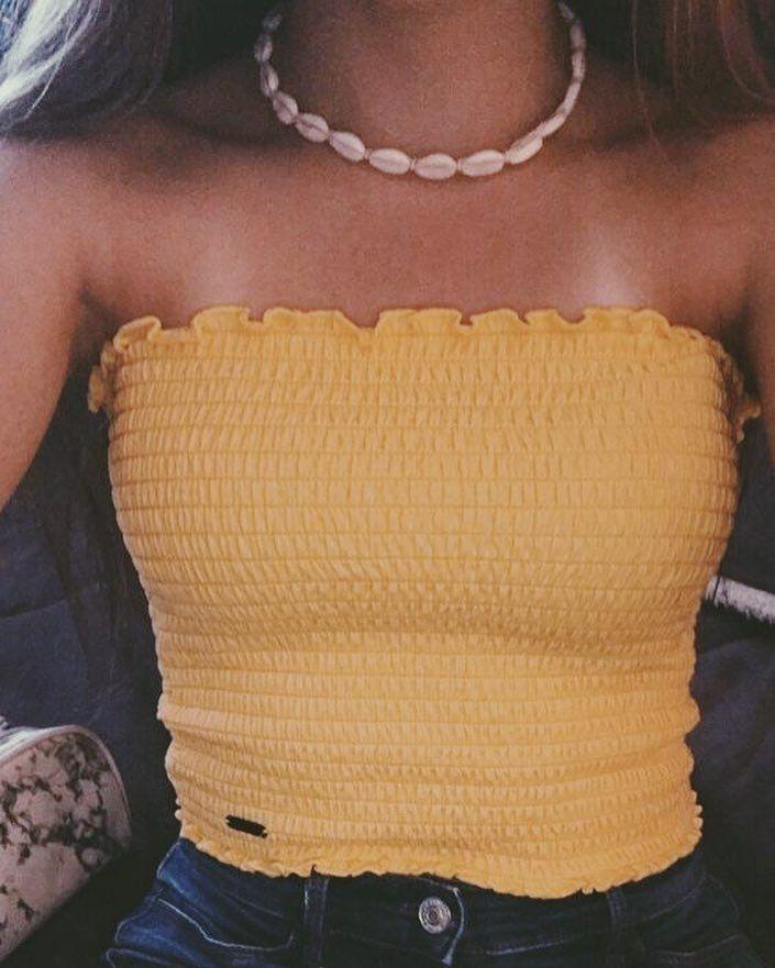 Photo of pinterest // mehhgen #tubetopoutfits fun // summer // tube top // shell necklace …