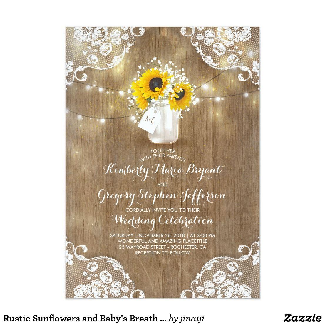 Wedding decorations wood november 2018 Rustic Sunflowers and Babyus Breath Fall Wedding Invitation