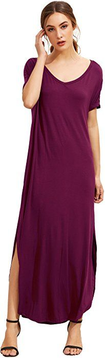 4173b87dabb MakeMeChic Women s Casual Loose Pocket Long Dress Short Sleeve Split Maxi  Dress Black S at Amazon Women s Clothing store