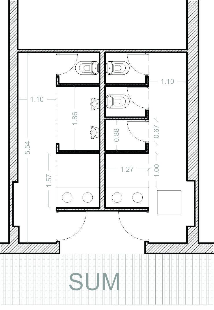 Ba o publico medidas minimas los ba os de distribuci n for Dimensiones arquitectonicas