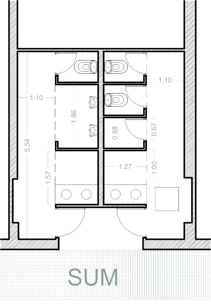 Ba o publico medidas minimas los ba os de distribuci n for Espacios minimos arquitectura